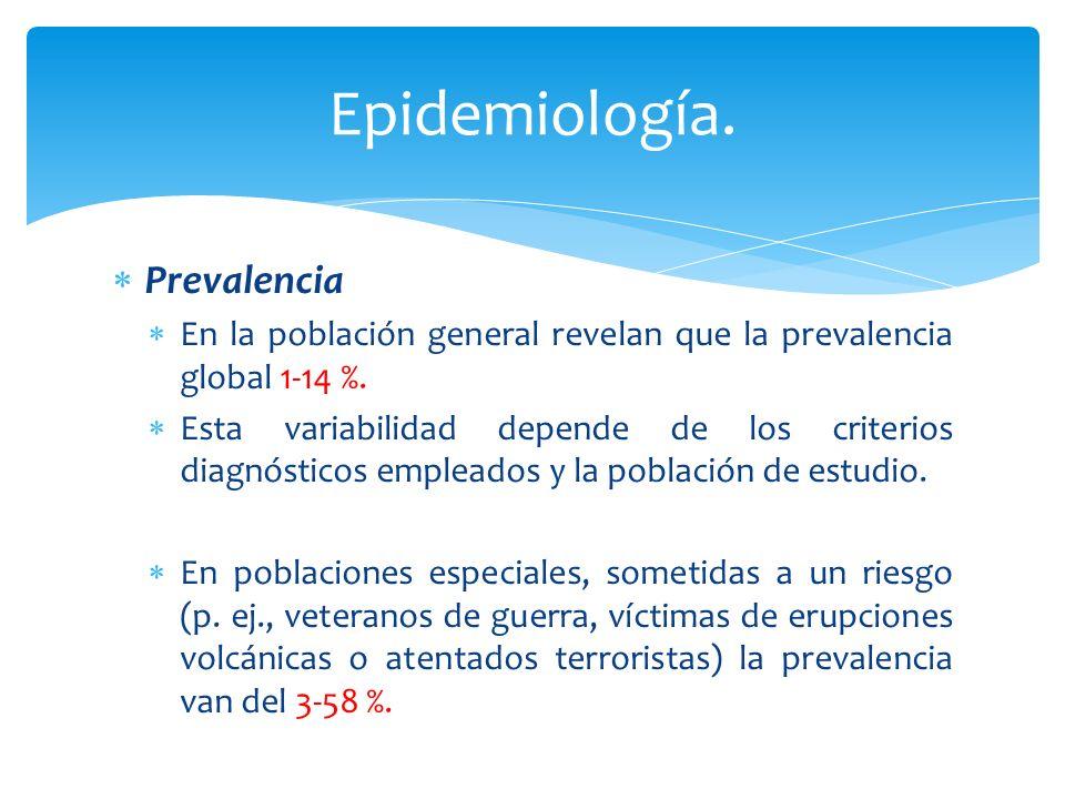Prevalencia En la población general revelan que la prevalencia global 1-14 %. Esta variabilidad depende de los criterios diagnósticos empleados y la p