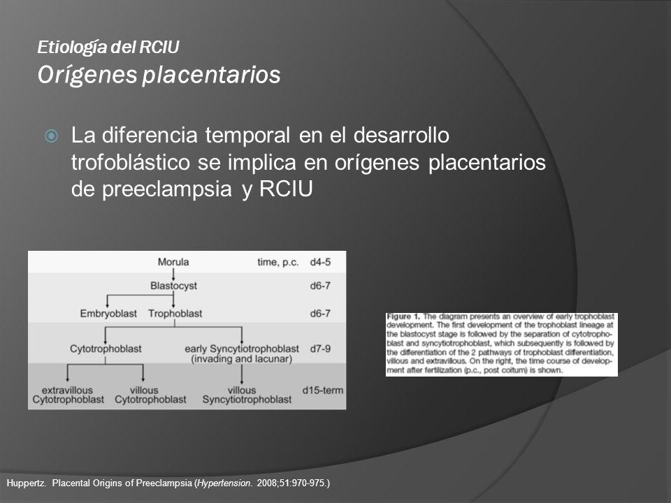 Etiología del RCIU Orígenes placentarios La diferencia temporal en el desarrollo trofoblástico se implica en orígenes placentarios de preeclampsia y R