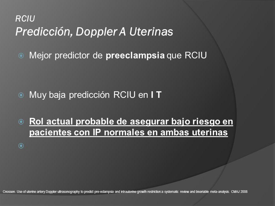 Mejor predictor de preeclampsia que RCIU Muy baja predicción RCIU en I T Rol actual probable de asegurar bajo riesgo en pacientes con IP normales en a