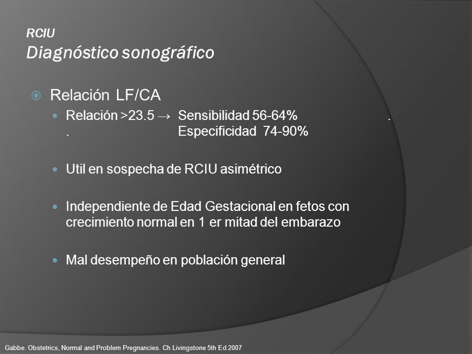 RCIU Diagnóstico sonográfico Relación LF/CA Relación >23.5 Sensibilidad 56-64%.. Especificidad 74-90% Util en sospecha de RCIU asimétrico Independient