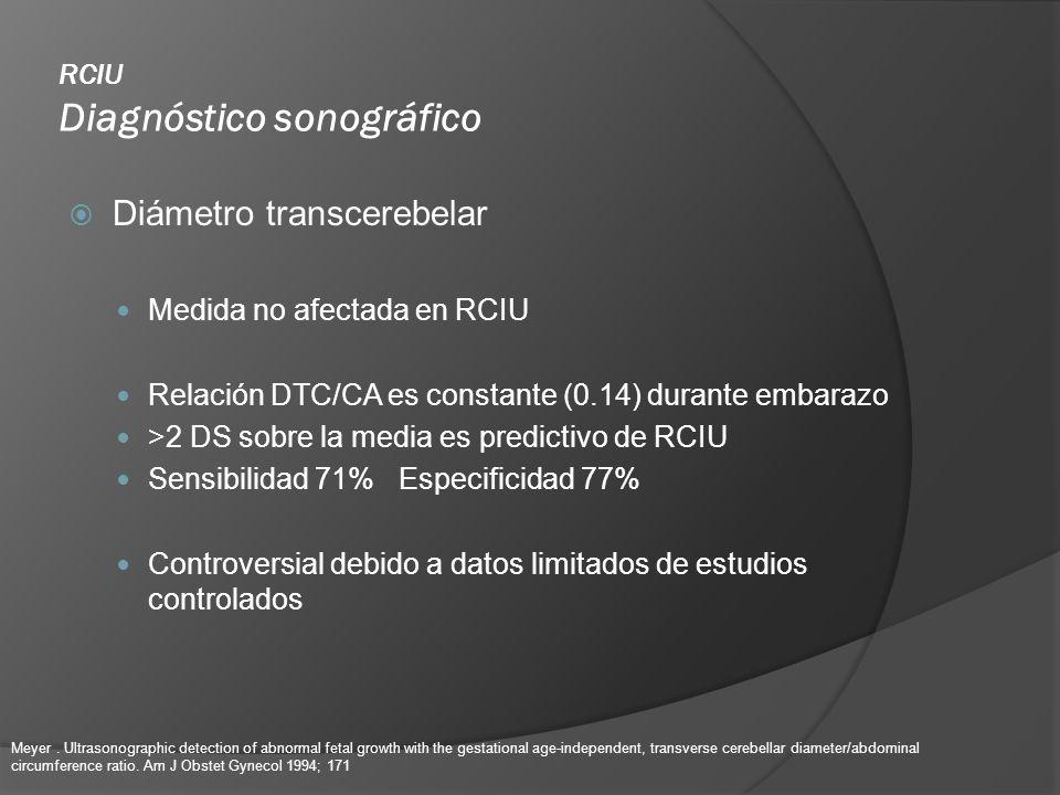 RCIU Diagnóstico sonográfico Diámetro transcerebelar Medida no afectada en RCIU Relación DTC/CA es constante (0.14) durante embarazo >2 DS sobre la me