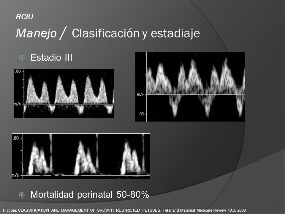 RCIU Manejo / Clasificación y estadiaje Estadio III Mortalidad perinatal 50-80% Picconi. CLASSIFICATION AND MANAGEMENT OF GROWTH RESTRICTED FETUSES. F