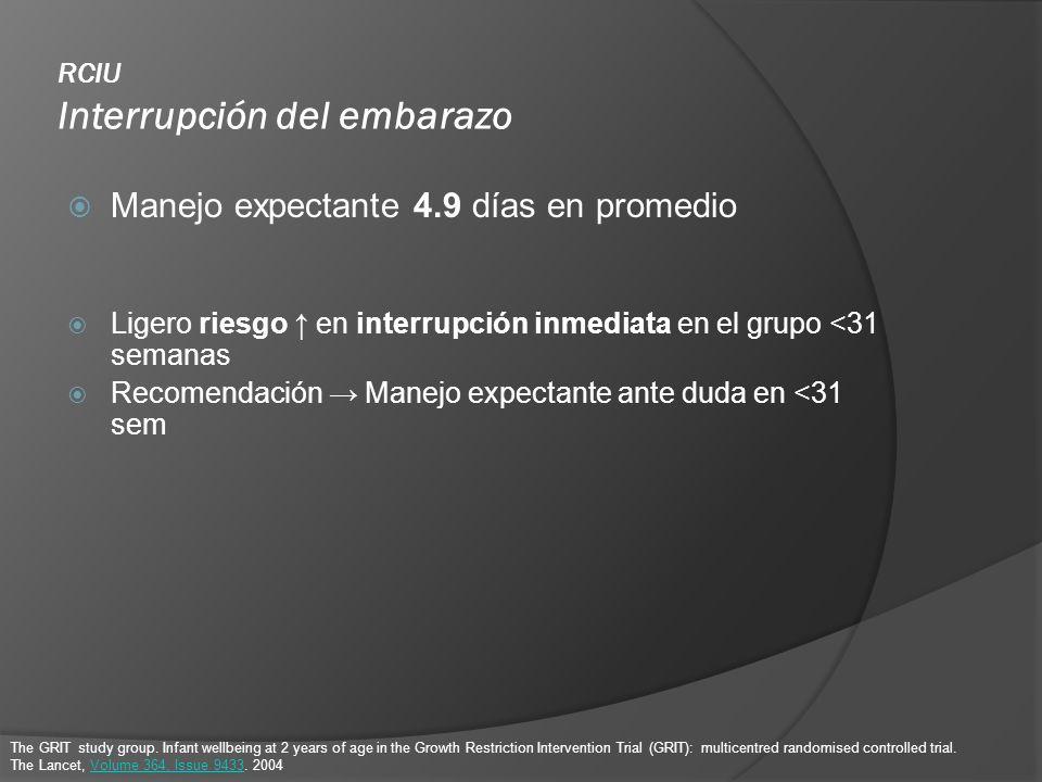 RCIU Interrupción del embarazo Manejo expectante 4.9 días en promedio Ligero riesgo en interrupción inmediata en el grupo <31 semanas Recomendación Ma