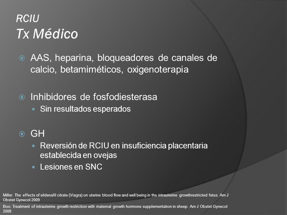 RCIU Tx Médico AAS, heparina, bloqueadores de canales de calcio, betamiméticos, oxigenoterapia Inhibidores de fosfodiesterasa Sin resultados esperados