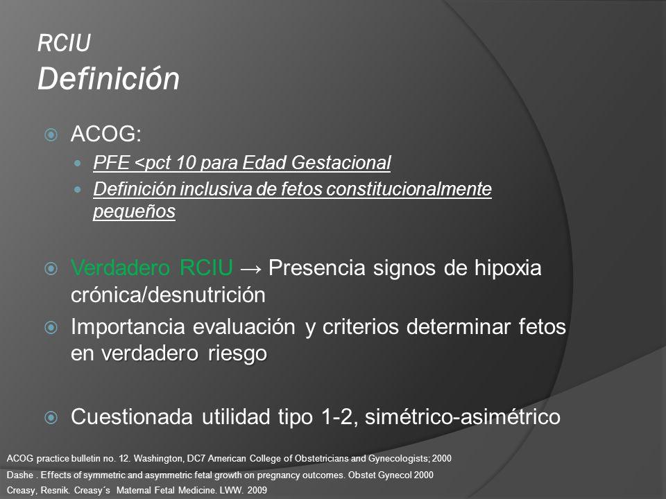 RCIU Definición ACOG: PFE <pct 10 para Edad Gestacional Definición inclusiva de fetos constitucionalmente pequeños Verdadero RCIU Presencia signos de