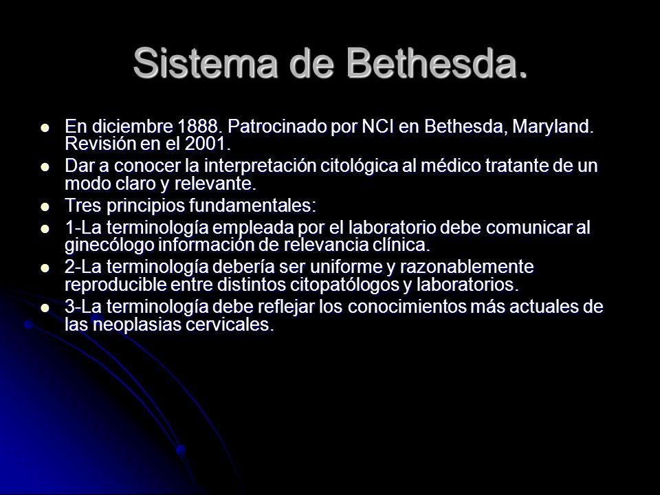 Sistema de Bethesda. En diciembre 1888. Patrocinado por NCI en Bethesda, Maryland. Revisión en el 2001. En diciembre 1888. Patrocinado por NCI en Beth