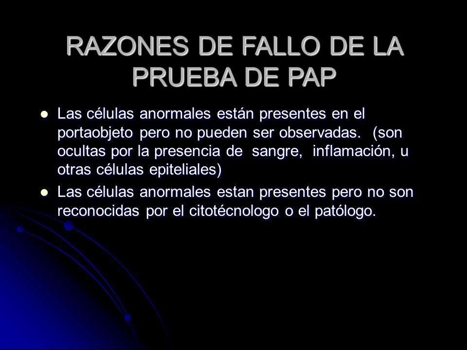 RAZONES DE FALLO DE LA PRUEBA DE PAP Las células anormales están presentes en el portaobjeto pero no pueden ser observadas. (son ocultas por la presen