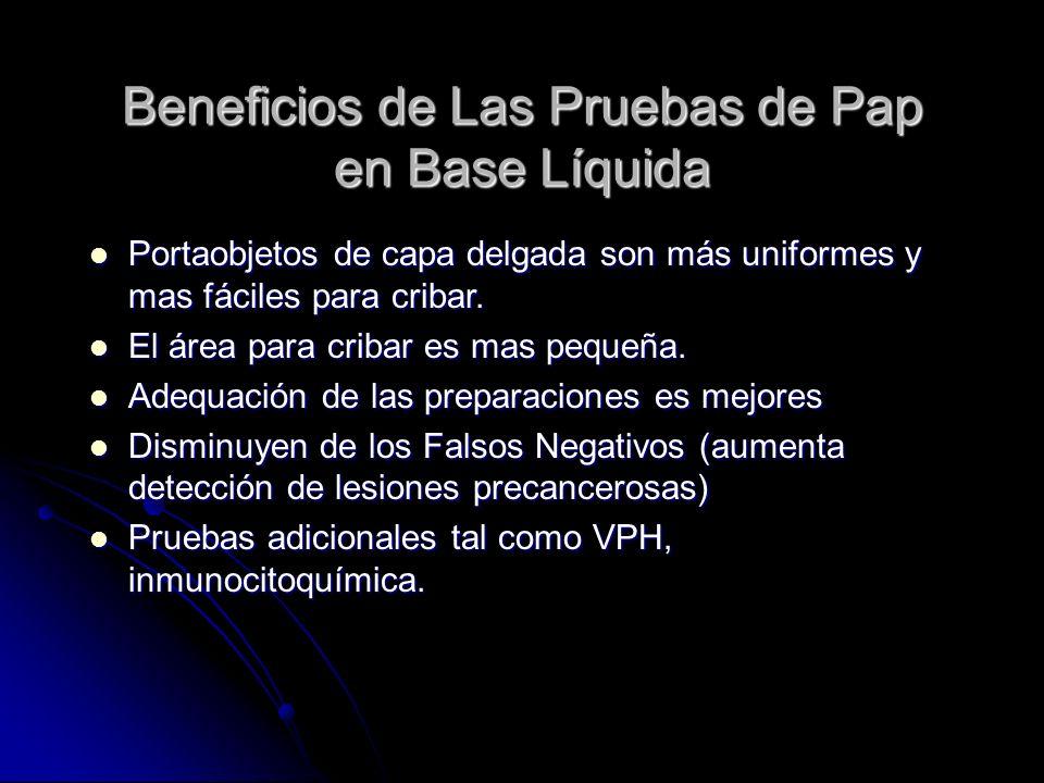 Beneficios de Las Pruebas de Pap en Base Líquida Portaobjetos de capa delgada son más uniformes y mas fáciles para cribar. Portaobjetos de capa delgad