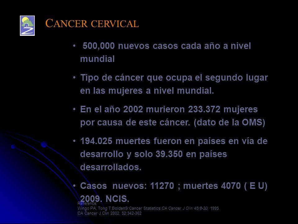 500,000 nuevos casos cada año a nivel mundial Tipo de cáncer que ocupa el segundo lugar en las mujeres a nivel mundial. En el año 2002 murieron 233.37