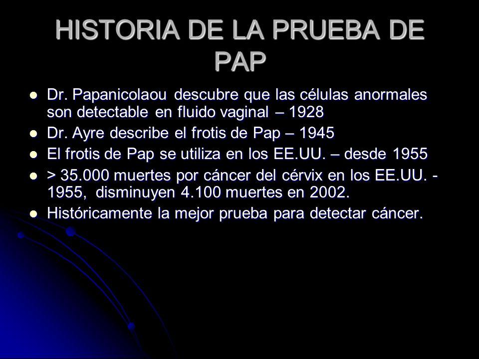 HISTORIA DE LA PRUEBA DE PAP Dr. Papanicolaou descubre que las células anormales son detectable en fluido vaginal – 1928 Dr. Papanicolaou descubre que