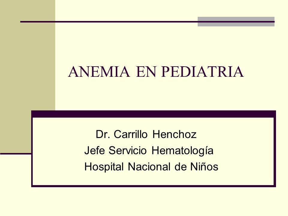 ANEMIA EN PEDIATRIA Dr. Carrillo Henchoz Jefe Servicio Hematología Hospital Nacional de Niños