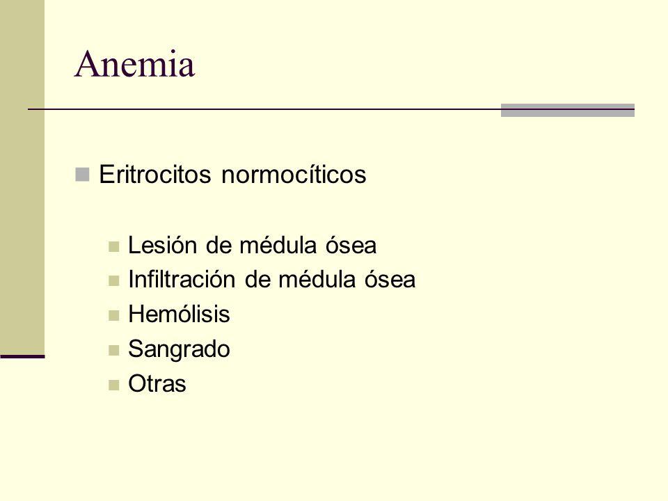 Anemia Eritrocitos normocíticos Lesión de médula ósea Infiltración de médula ósea Hemólisis Sangrado Otras