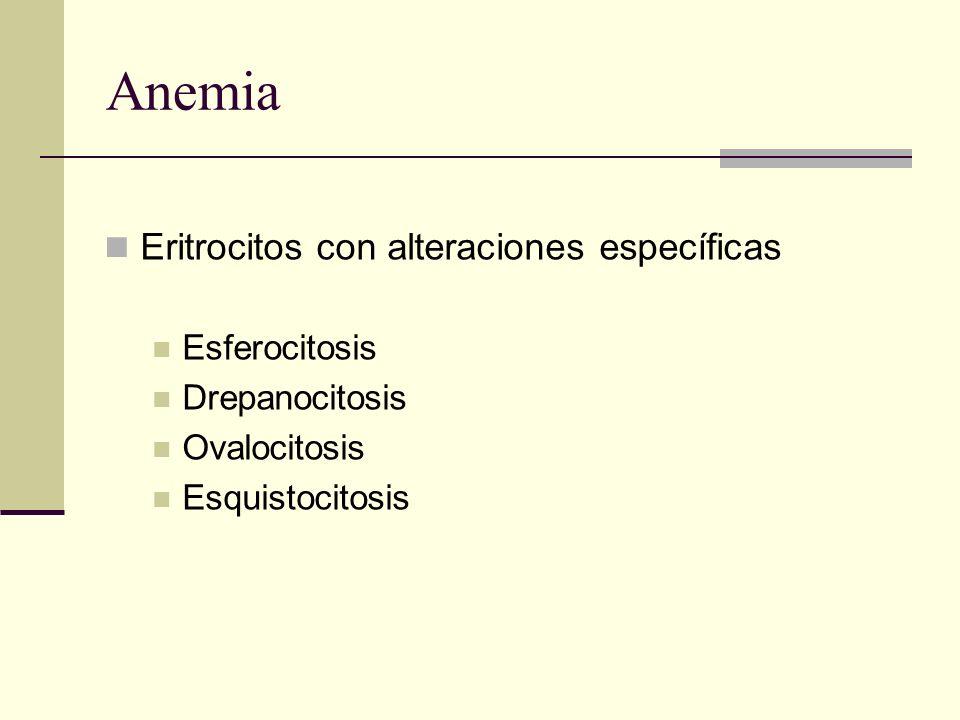 Anemia Eritrocitos con alteraciones específicas Esferocitosis Drepanocitosis Ovalocitosis Esquistocitosis