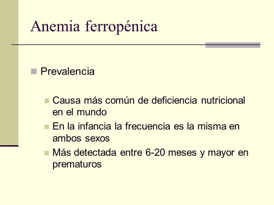 Anemia ferropénica Prevalencia Causa más común de deficiencia nutricional en el mundo En la infancia la frecuencia es la misma en ambos sexos Más dete