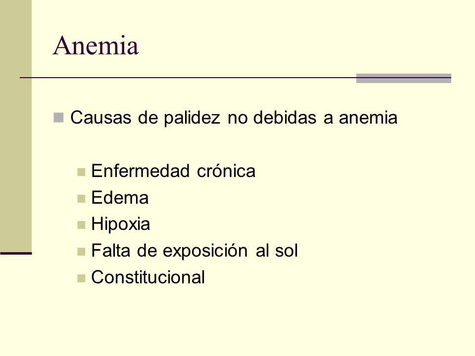 Anemia Causas de palidez no debidas a anemia Enfermedad crónica Edema Hipoxia Falta de exposición al sol Constitucional