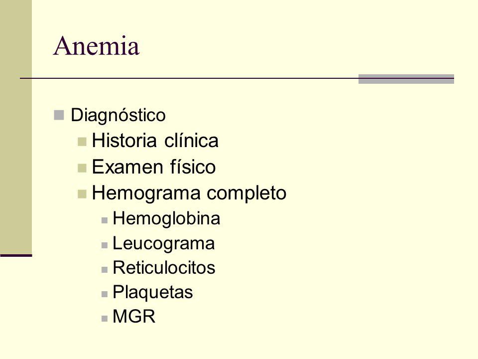 Anemia Diagnóstico Historia clínica Examen físico Hemograma completo Hemoglobina Leucograma Reticulocitos Plaquetas MGR