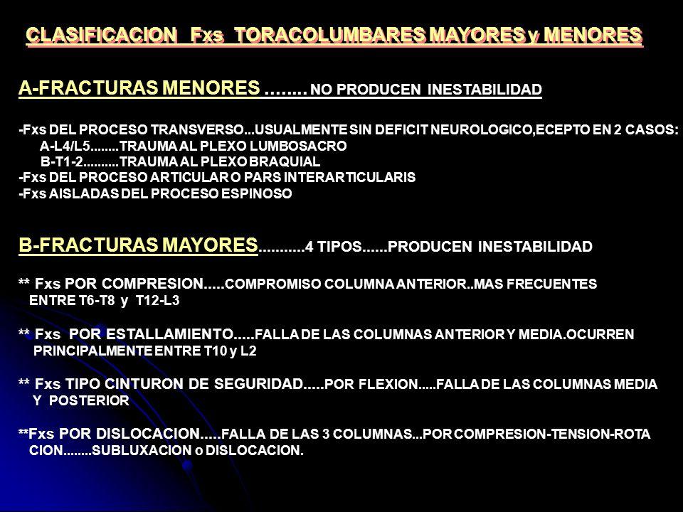 CLASIFICACION Fxs TORACOLUMBARES MAYORES y MENORES A-FRACTURAS MENORES........ NO PRODUCEN INESTABILIDAD -Fxs DEL PROCESO TRANSVERSO...USUALMENTE SIN