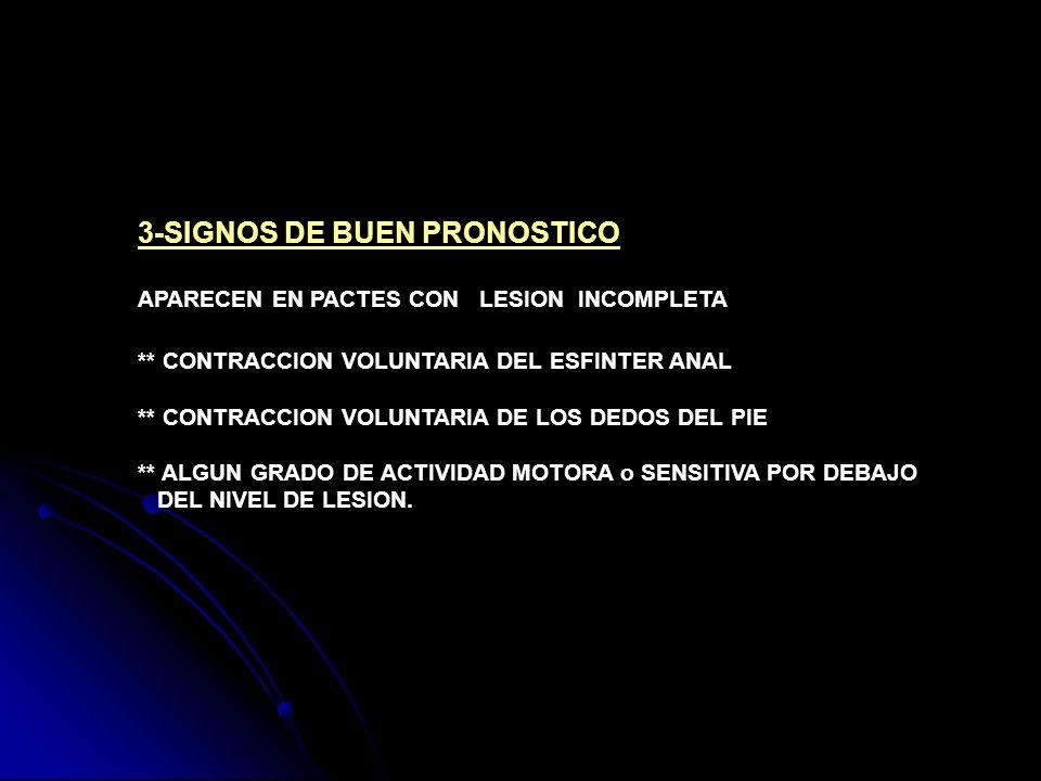 3-SIGNOS DE BUEN PRONOSTICO APARECEN EN PACTES CON LESION INCOMPLETA ** CONTRACCION VOLUNTARIA DEL ESFINTER ANAL ** CONTRACCION VOLUNTARIA DE LOS DEDO