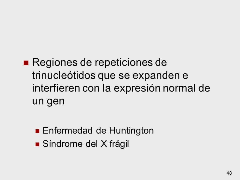 48 Regiones de repeticiones de trinucleótidos que se expanden e interfieren con la expresión normal de un gen Enfermedad de Huntington Síndrome del X
