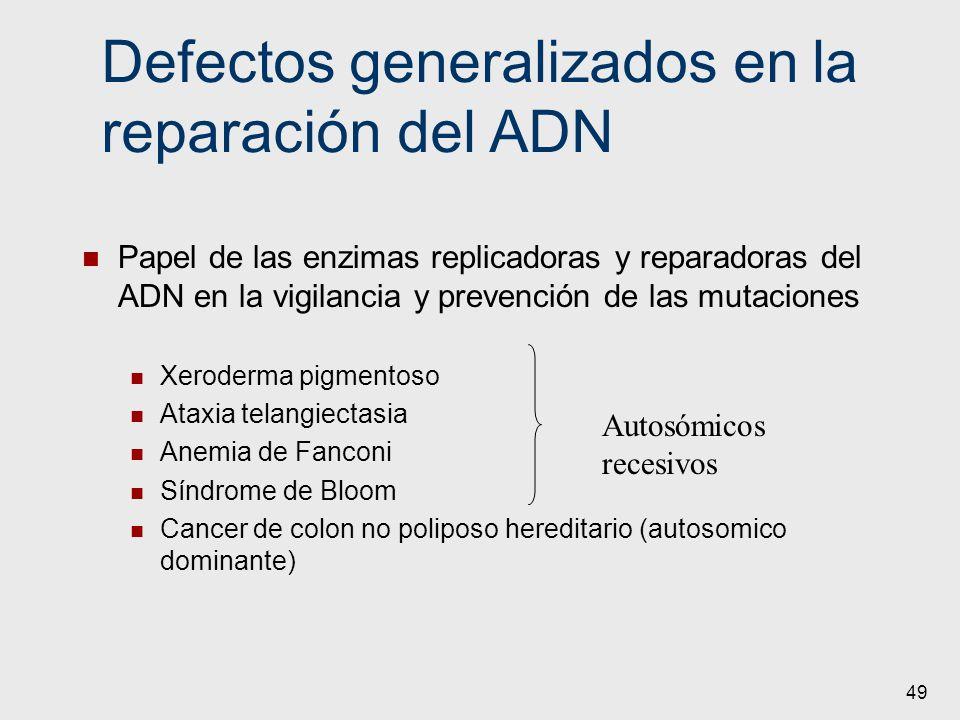 49 Defectos generalizados en la reparación del ADN Papel de las enzimas replicadoras y reparadoras del ADN en la vigilancia y prevención de las mutaci