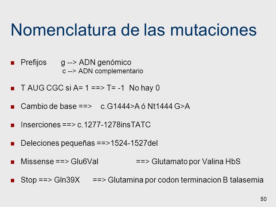 50 Nomenclatura de las mutaciones Prefijos g --> ADN genómico c --> ADN complementario T AUG CGCsi A= 1 ==> T= -1 No hay 0 Cambio de base ==> c.G1444>