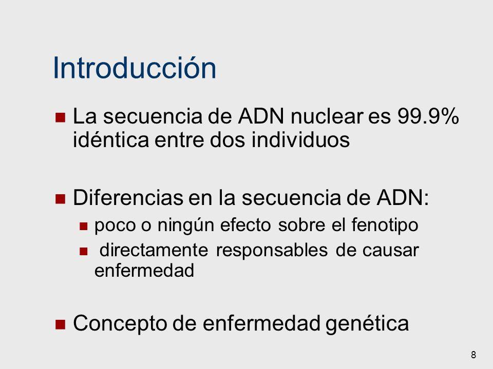 8 Introducción La secuencia de ADN nuclear es 99.9% idéntica entre dos individuos Diferencias en la secuencia de ADN: poco o ningún efecto sobre el fe
