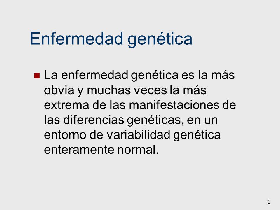Enfermedad genética La enfermedad genética es la más obvia y muchas veces la más extrema de las manifestaciones de las diferencias genéticas, en un en