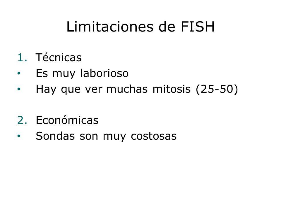 Limitaciones de FISH 1.Técnicas Es muy laborioso Hay que ver muchas mitosis (25-50) 2.Económicas Sondas son muy costosas