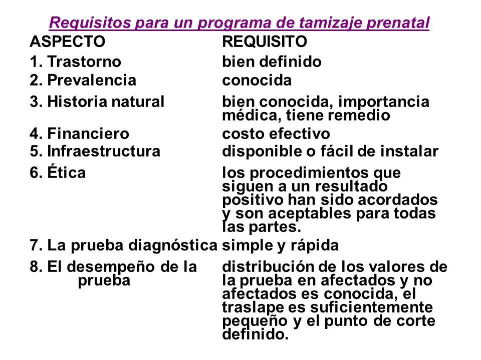 Requisitos para un programa de tamizaje prenatal ASPECTOREQUISITO 1.