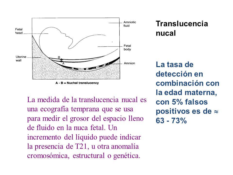Translucencia nucal La tasa de detección en combinación con la edad materna, con 5% falsos positivos es de 63 - 73% La medida de la translucencia nuca