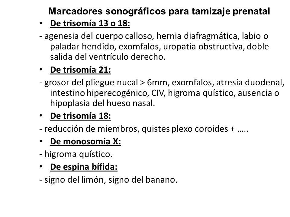 Marcadores sonográficos para tamizaje prenatal De trisomía 13 o 18: - agenesia del cuerpo calloso, hernia diafragmática, labio o paladar hendido, exom