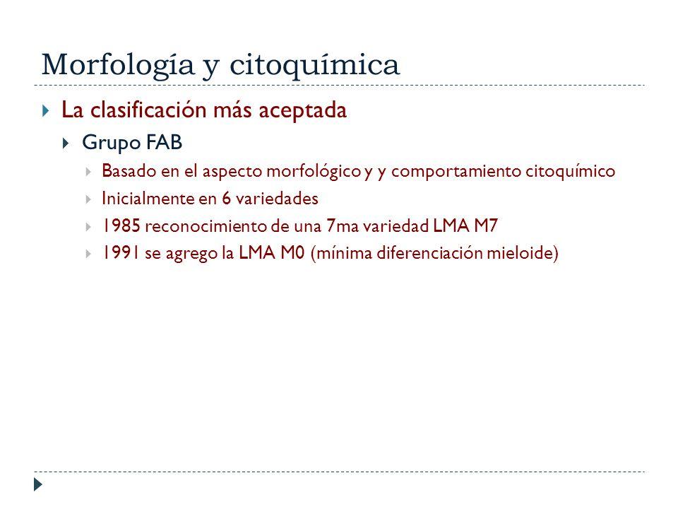 Morfología y citoquímica La clasificación más aceptada Grupo FAB Basado en el aspecto morfológico y y comportamiento citoquímico Inicialmente en 6 var