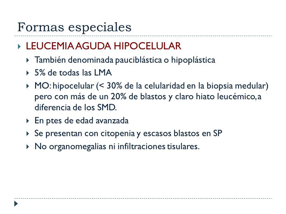 Formas especiales LEUCEMIA AGUDA HIPOCELULAR También denominada pauciblástica o hipoplástica 5% de todas las LMA MO: hipocelular (< 30% de la celulari