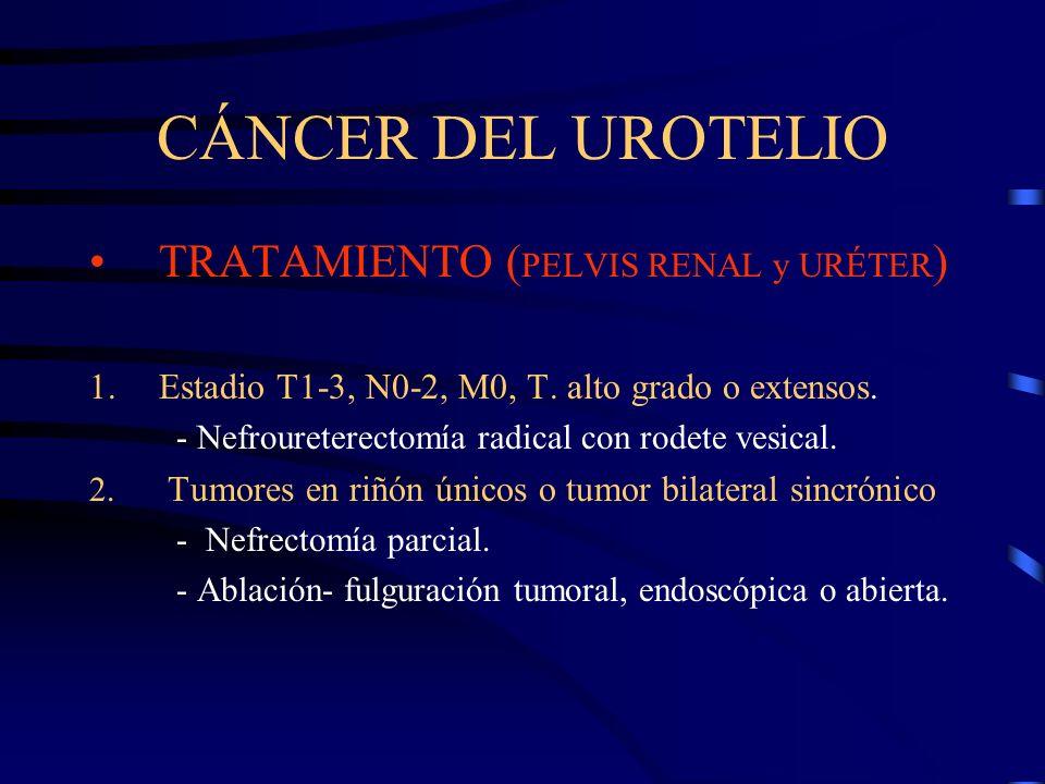 CÁNCER DEL UROTELIO TRATAMIENTO ( PELVIS RENAL y URÉTER ) 1.Estadio T1-3, N0-2, M0, T. alto grado o extensos. - Nefroureterectomía radical con rodete