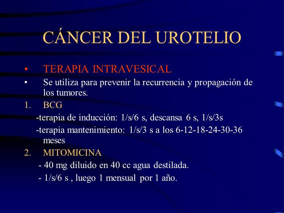 CÁNCER DEL UROTELIO TERAPIA INTRAVESICAL Se utiliza para prevenir la recurrencia y propagación de los tumores. 1.BCG -terapia de inducción: 1/s/6 s, d
