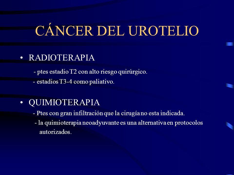 CÁNCER DEL UROTELIO RADIOTERAPIA - ptes estadio T2 con alto riesgo quirúrgico. - estadios T3-4 como paliativo. QUIMIOTERAPIA - Ptes con gran infiltrac