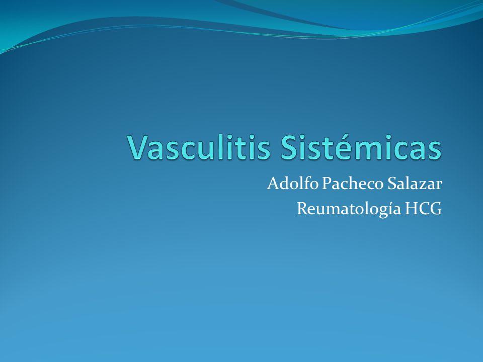 Vasculitis sistémicas Inflamación-destrucción de las paredes de los vasos sanguíneos Trastornos heterogéneos