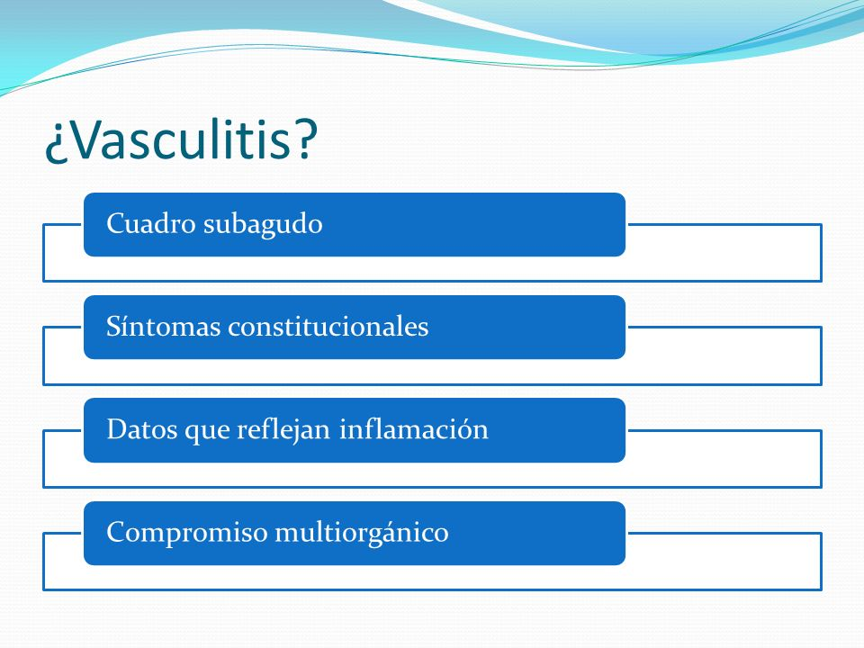 ¿Vasculitis? Cuadro subagudoSíntomas constitucionalesDatos que reflejan inflamaciónCompromiso multiorgánico