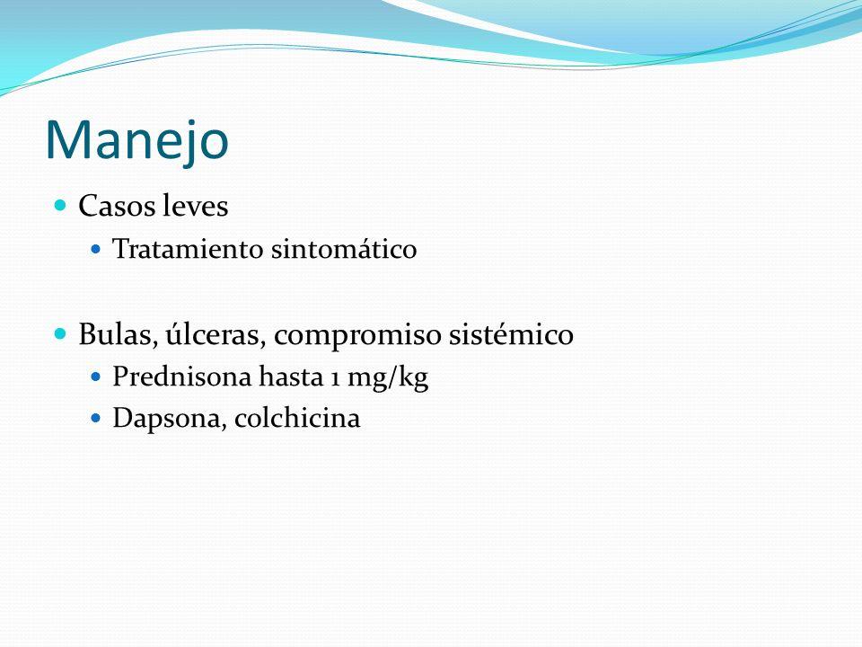 Manejo Casos leves Tratamiento sintomático Bulas, úlceras, compromiso sistémico Prednisona hasta 1 mg/kg Dapsona, colchicina