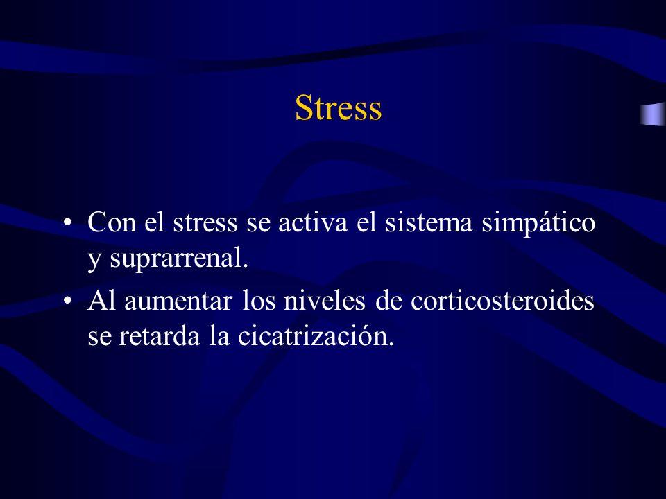 Stress Con el stress se activa el sistema simpático y suprarrenal. Al aumentar los niveles de corticosteroides se retarda la cicatrización.