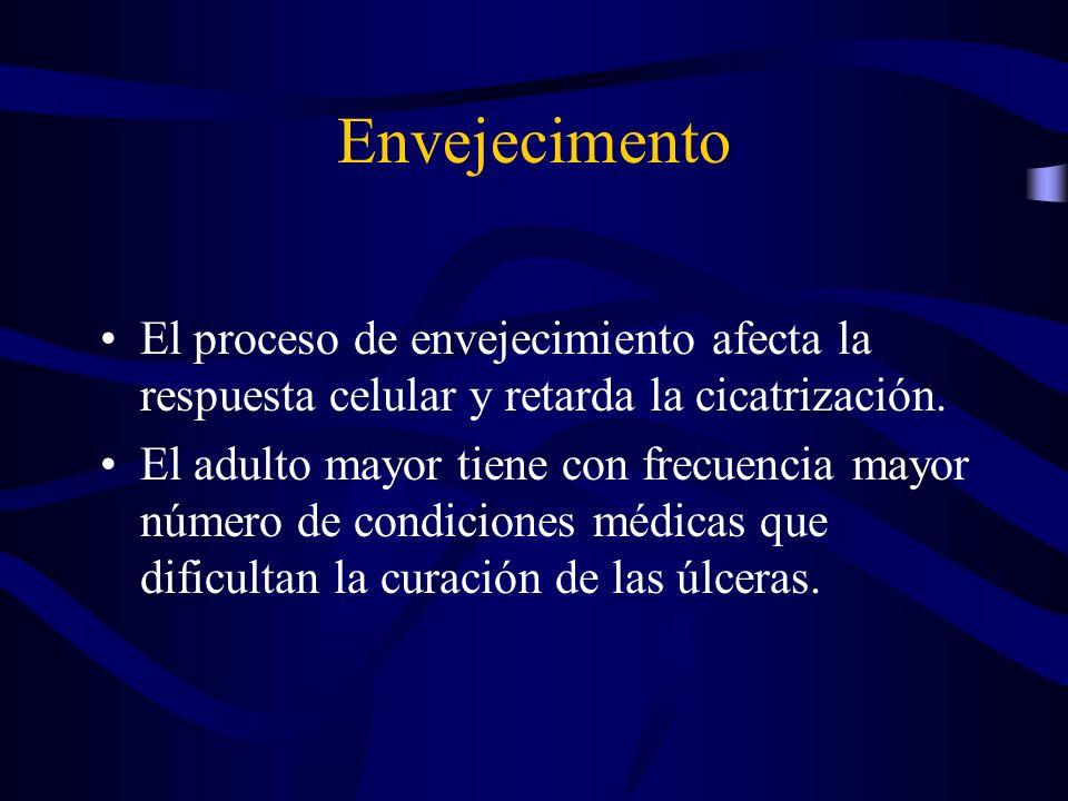 Envejecimento El proceso de envejecimiento afecta la respuesta celular y retarda la cicatrización. El adulto mayor tiene con frecuencia mayor número d