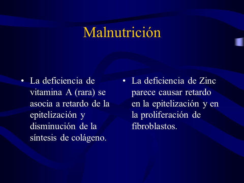 Malnutrición La deficiencia de vitamina A (rara) se asocia a retardo de la epitelización y disminución de la síntesis de colágeno. La deficiencia de Z