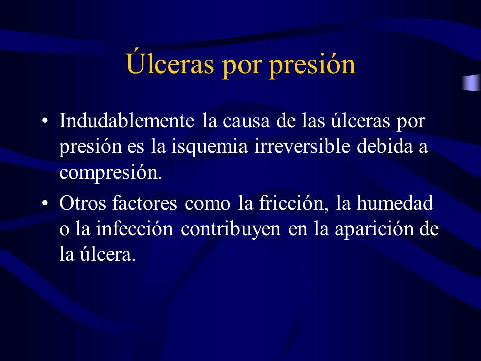 Úlceras por presión Indudablemente la causa de las úlceras por presión es la isquemia irreversible debida a compresión. Otros factores como la fricció