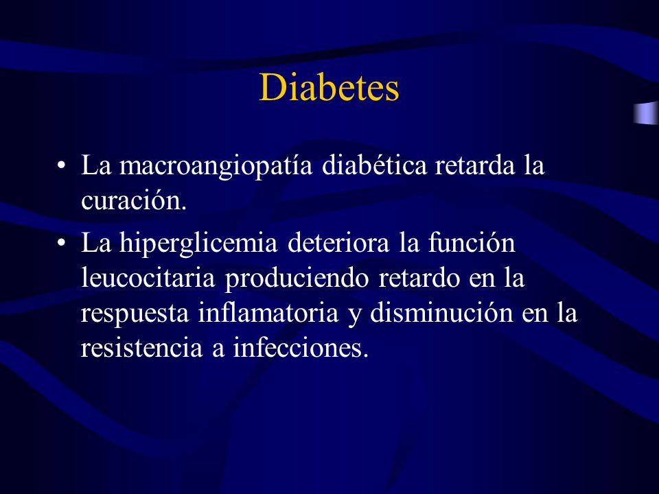 Diabetes La macroangiopatía diabética retarda la curación. La hiperglicemia deteriora la función leucocitaria produciendo retardo en la respuesta infl