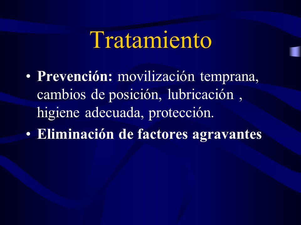 Tratamiento Prevención: movilización temprana, cambios de posición, lubricación, higiene adecuada, protección. Eliminación de factores agravantes