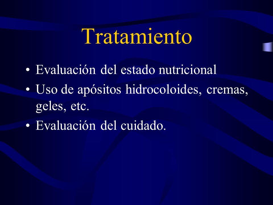 Tratamiento Evaluación del estado nutricional Uso de apósitos hidrocoloides, cremas, geles, etc. Evaluación del cuidado.