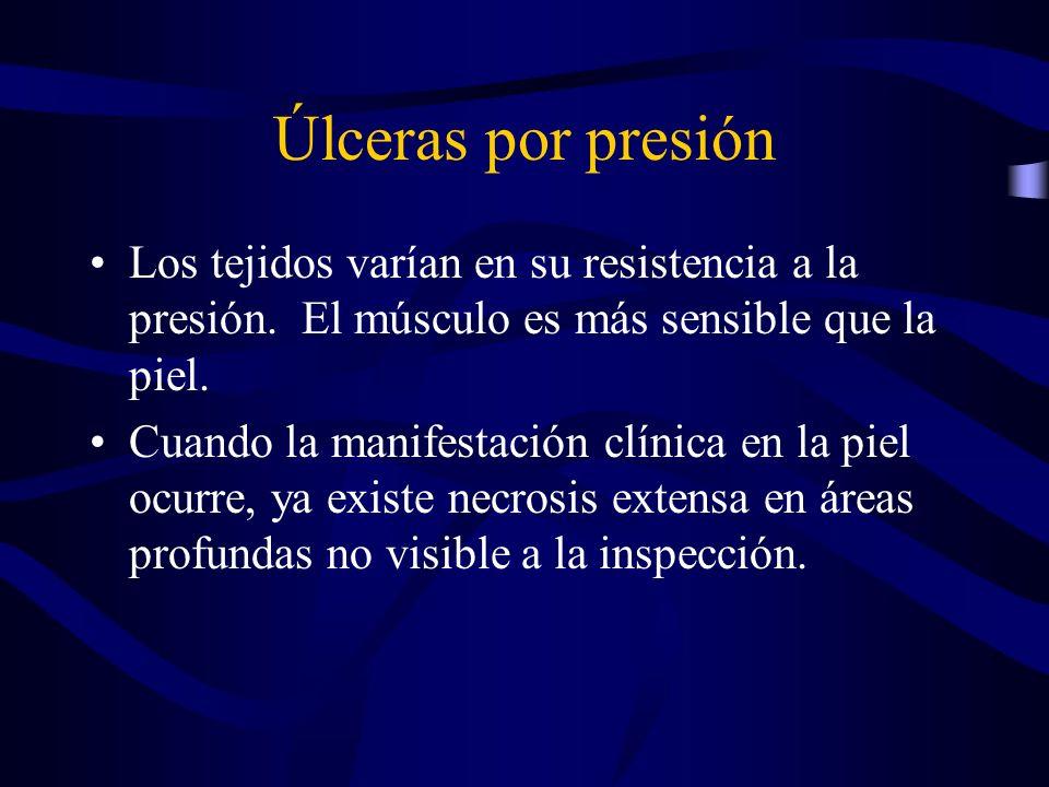 Úlceras por presión Los tejidos varían en su resistencia a la presión. El músculo es más sensible que la piel. Cuando la manifestación clínica en la p