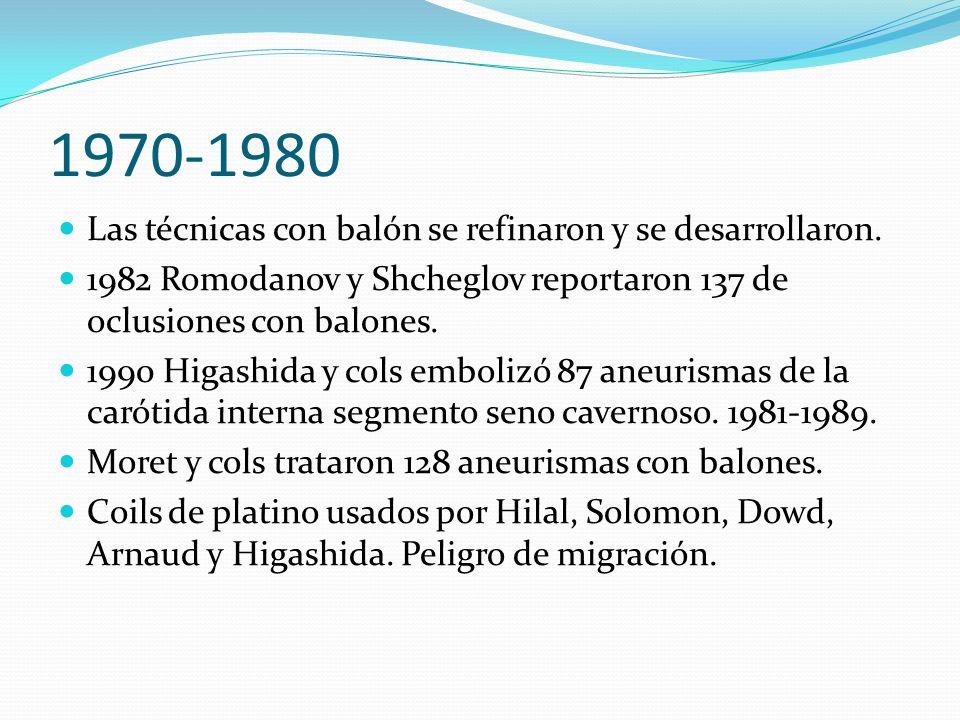 1970-1980 Las técnicas con balón se refinaron y se desarrollaron. 1982 Romodanov y Shcheglov reportaron 137 de oclusiones con balones. 1990 Higashida