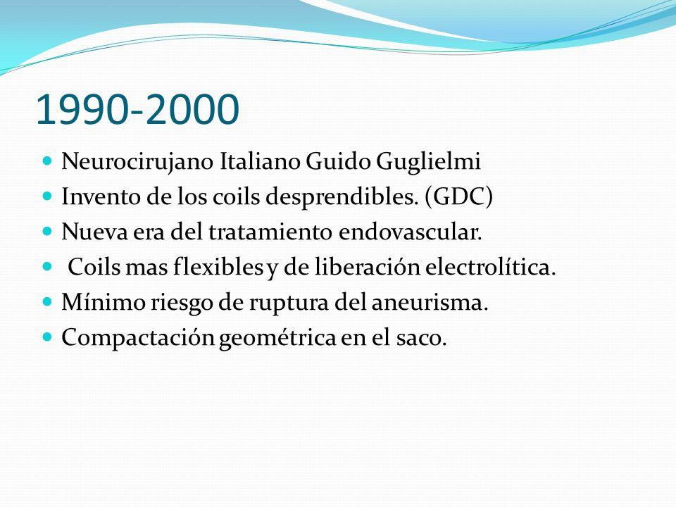 1990-2000 Neurocirujano Italiano Guido Guglielmi Invento de los coils desprendibles. (GDC) Nueva era del tratamiento endovascular. Coils mas flexibles