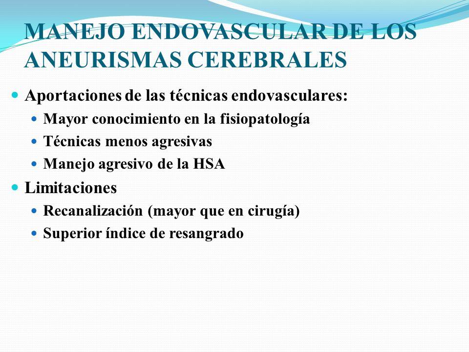 MANEJO ENDOVASCULAR DE LOS ANEURISMAS CEREBRALES Aportaciones de las técnicas endovasculares: Mayor conocimiento en la fisiopatología Técnicas menos a